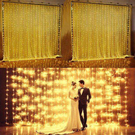 Minger LED Lichterkette Lichtervorhang 3M * 3M 300 LEDs 8 Modi Verbindbarer Entwurf, Warmweiß, 3000 Kelvin, Sternen LED Lichterketten für Weihnachten / Hochzeit / Party, Weihnachtsbeleuchtung