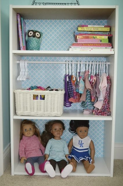 Creative Mama on a Dime: When a bookshelf isn't just a bookshelf. American Girl Doll Closet!