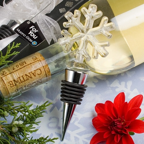 """Snowflake Wine Bottle Stoppers as Winter Wedding Favors or Holiday Party Favors     Each measures 4 3/4"""" x 1 3/4"""".  There is the Murano-style metallic silver shimmer glass charm top in a snowflake shape. It has a silver metal conical base, wrapped with a black rubber gasket for a tight seal.  Comes nestled in a bed of white satin inside a two piece black box with a central window for viewing.  Wrapped and tied with a white organza ribbon and a """"For You""""  tag."""