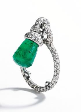 Platinum, Briolette Emerald and Diamond Ring, Jar, Paris - Sotheby's