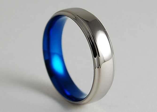 Titanium Ring Mens Wedding Band Promise Ring Neptune Band In Nightfall Blue With Comfort