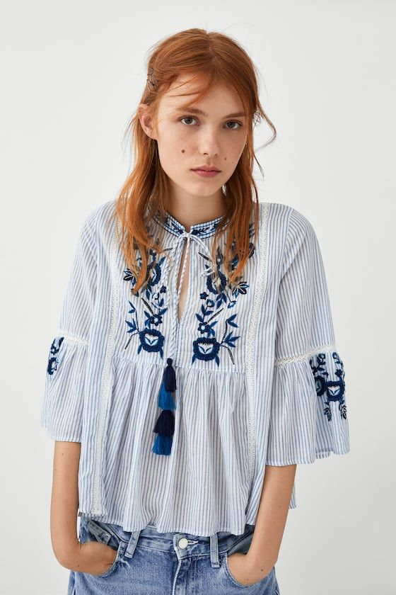 1e114cc516e82 Image 2 of TOP WITH FLORAL EMBROIDERY from Zara