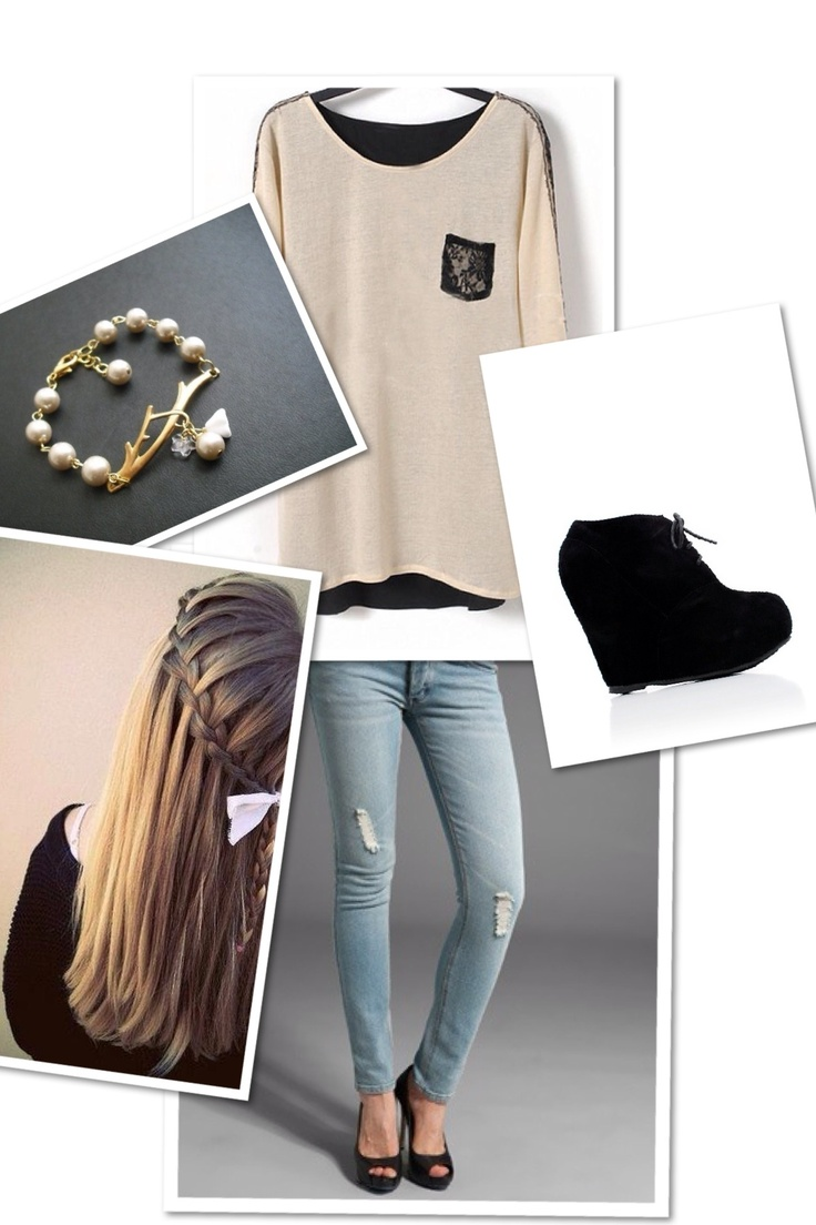 Beige and Black!( You can replace jeans with black jeggings) Outfit 7