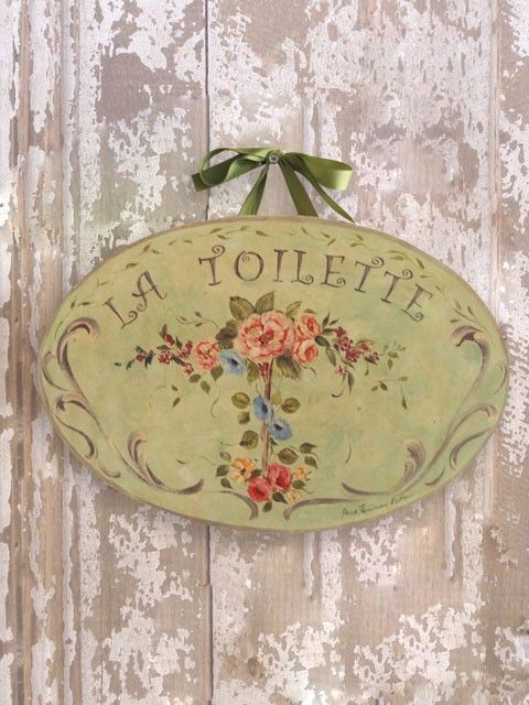 La Toilette Green with Flowers Wall Plaque Sign