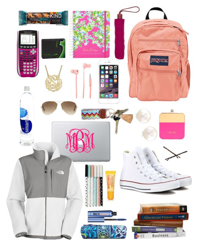 """""""College preppy must haves"""" by whitney-fontenot ❤ liked on Polyvore featuring JanSport, Converse, Lilly Pulitzer, The North Face, Avon, Rebecca Minkoff, Merkury Innovations, BaubleBar, Longchamp and Goody"""