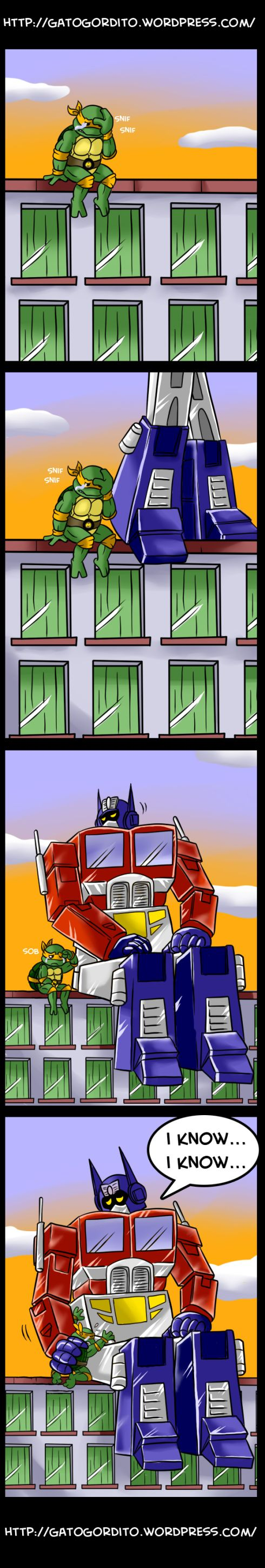 Optimus feels Mikey's pain - Freakin Michael Bay!  D=<  You made my favorite turtle cry!