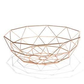 Copper-Plated Wire Fruit Bowl