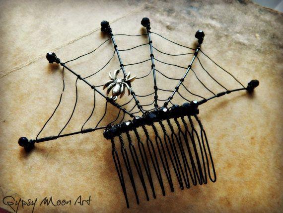 Spider Web Hair Comb  Black Spider Web Goth Hair by GypsyMoonArt, $36.00