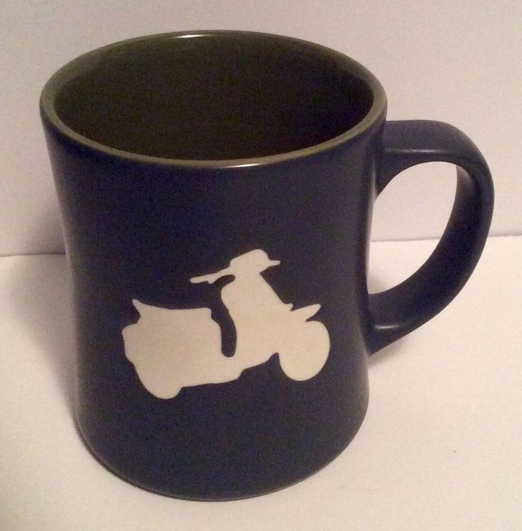 Starbucks 2011 Embossed Scooter Coffee Mug Cup Gray Green Vespa Moped 16oz #Starbucks
