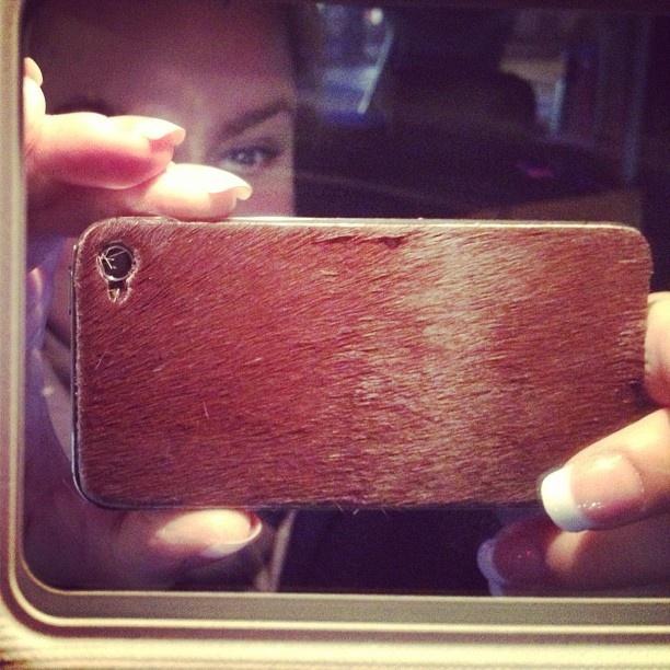 Cowhide iPhone 4 cover by Kristine Blom (@kristineblom on Instagram).