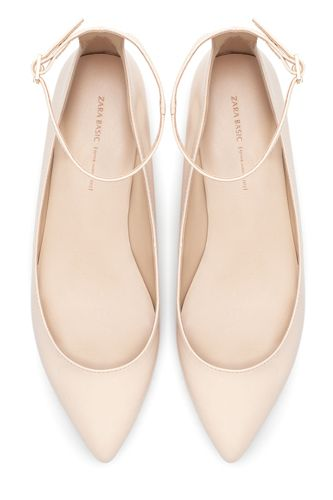 Zara Pointed Ballerina Flats With Ankle Strap, $39.99, available at Zara.