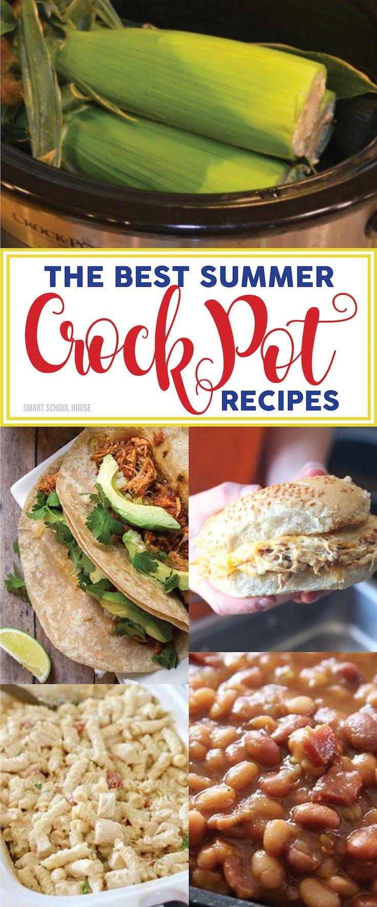 The BEST Summer Crock Pot Recipes! Crock pot corn on the cob, peach cobbler, pineapple chicken, chicken caesar sandwiches. Summer slow cooker recipe ideas.
