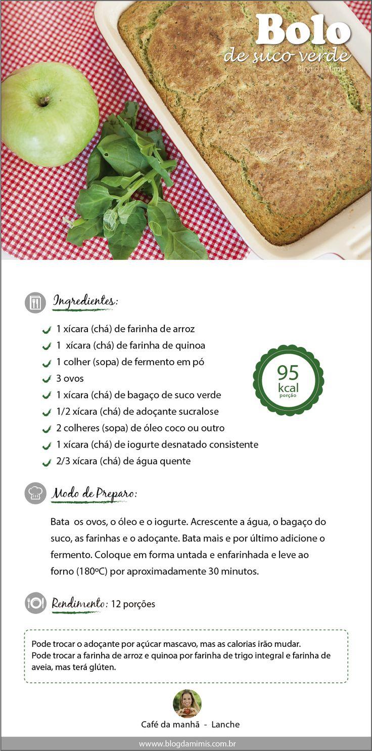 Receita de bolo de suco verde  do Blog da Mimis - Todo mundo já sabe o poder do suco verde na saúde e como auxiliar na dieta de emagrecimento. E hoje a dica é uma receita com o bagaço do suco verde!