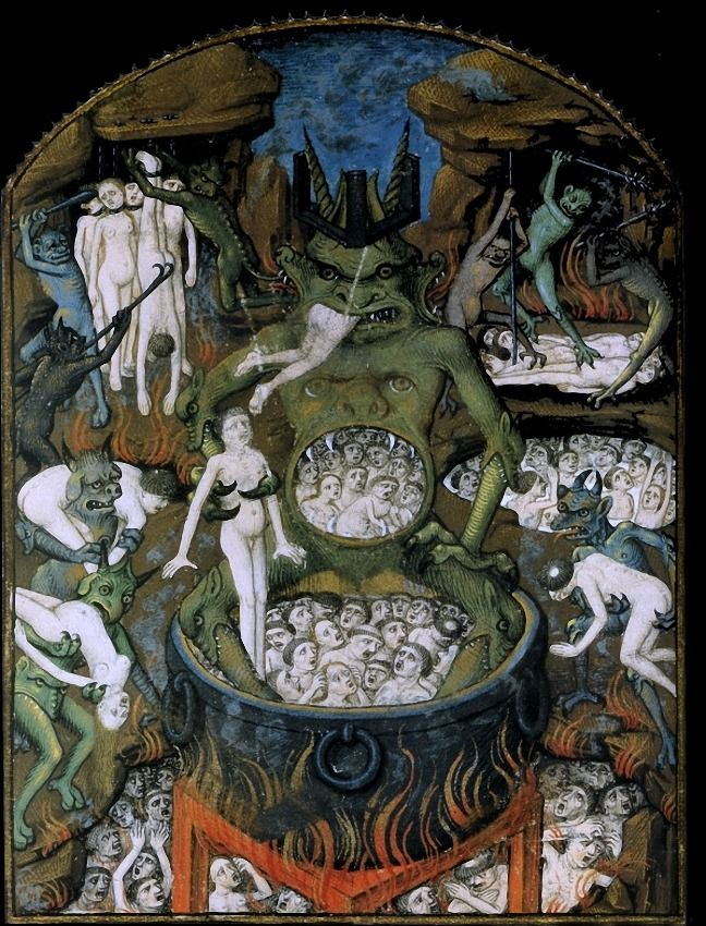 Limbourg brothers, Hell Les Tres Riches Heures - a prayer book of the Duc de Berry, 1416. Mouth of Hell, c. 1150.From Winchester Psalter manuscript.Winchester, England. Lucifer devouring Judas Iscariot, Brutus and Cassio. Giovanni Canavesio, Jugement Dernier - Damnés (Last…