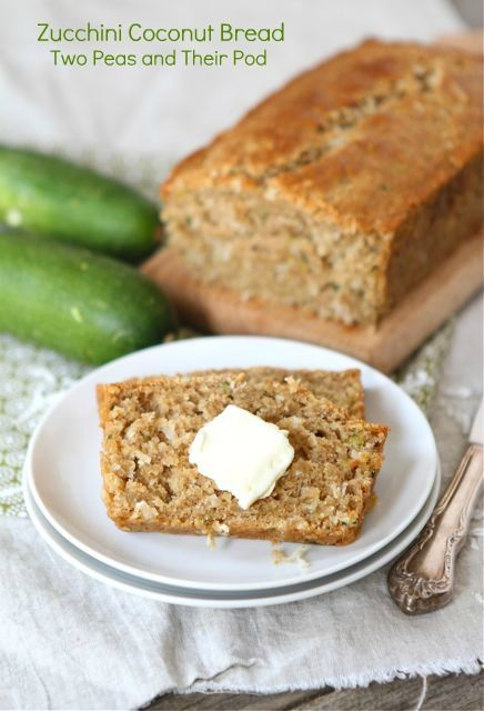 Zucchini Coconut Bread Recipe on twopeasandtheirpod.com. Made with coconut oil and coconut! This bread is a real treat! #coconutoil #bread