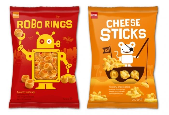 Hema brand Robo Rings and Cheese sticks #packaging