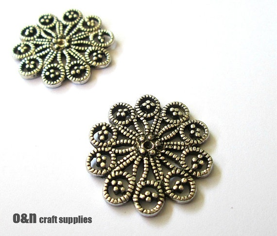 Metal vintage style charm / connector, antique silver filigree flower, 2 pieces #jewelrysupplies #charms