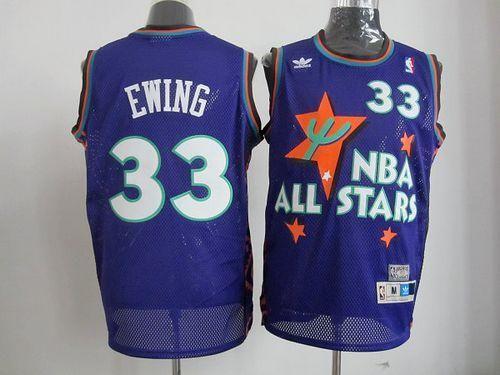 f94eca60ab4 Mitchell And Ness Knicks  33 Patrick Ewing All star Swingman Blue Stitched  NBA Jersey