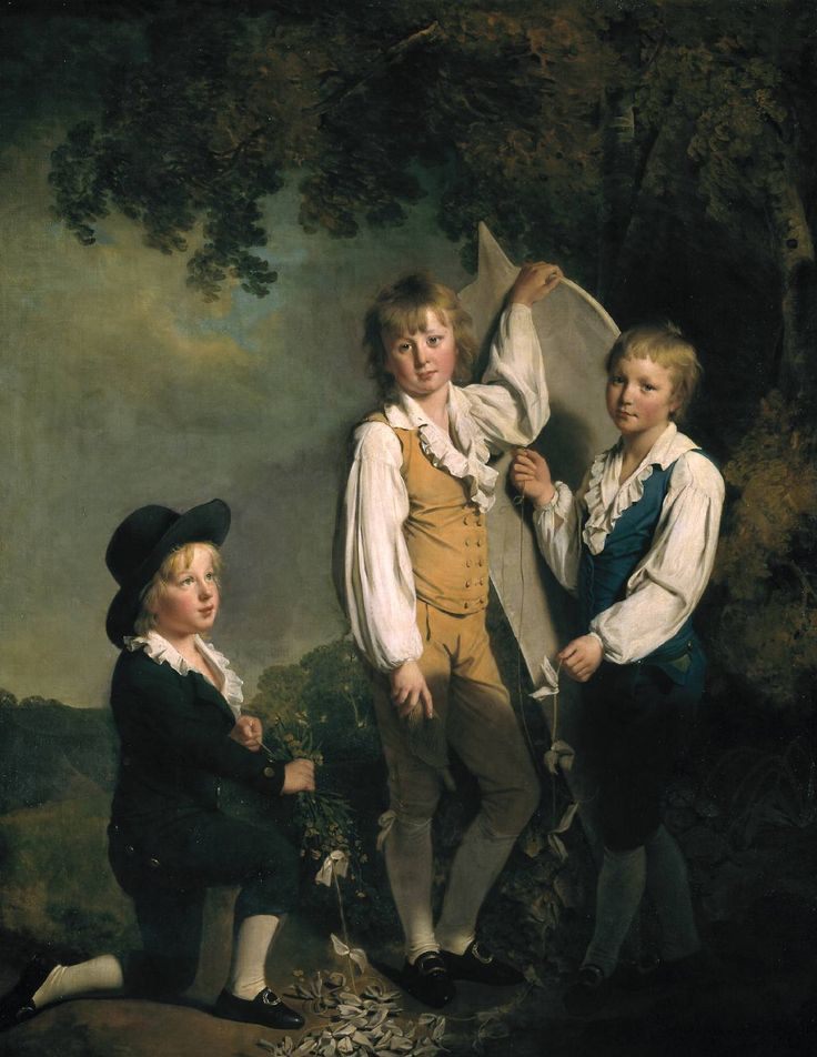 Artist Joseph Wright of Derby (1734‑1797), Title: Three Children of Richard Arkwright with a Kite, 1791. Tate Accession Number L02029