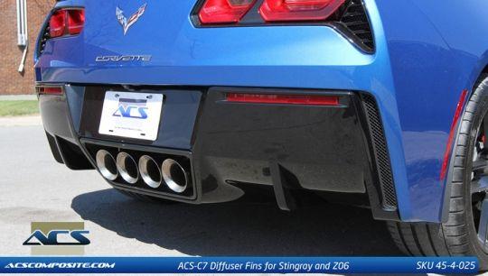 ACS C7 Stingray Corvette Diffuser Fins Carbon Flash 2014-15