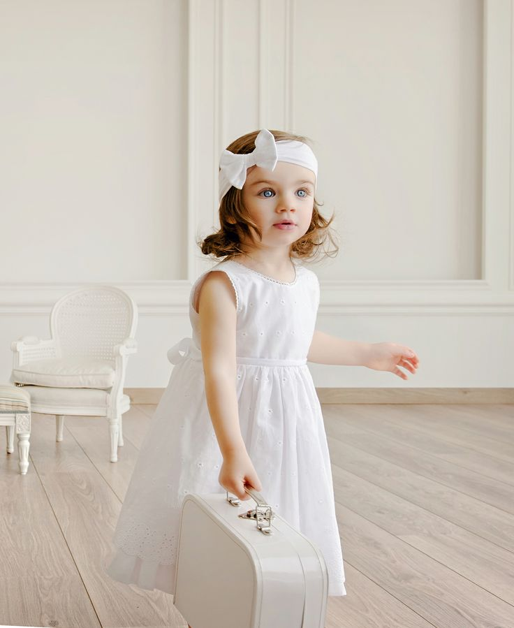 White broderie dress for little girls. Ideal for baptism and special occasions.  #Minisize #SS14 #Spring #Summer #For_Special_Occasions Dress: http://www.minisize-sissychristidou.gr/el/special-occasions/mpronteri-forema-vaftisi.html