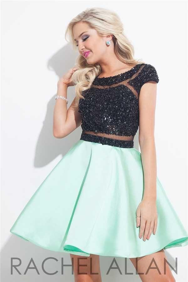 Black Mint Short Sexy Prom Dresses by Rachel Allan 4023 Discount