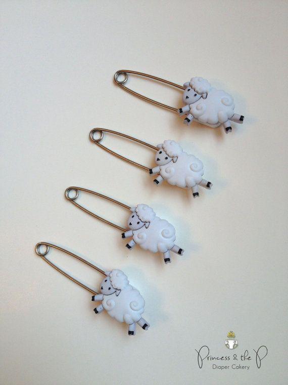 Little Lamb Diaper Pins - Baby Lamb, cloth diaper, diaper cover, Diaper Cake, baby sheep, lamb baby shower