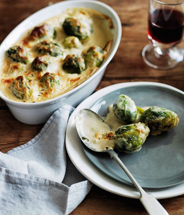 Australian Gourmet Traveller recipe for Brussels sprouts gratin.