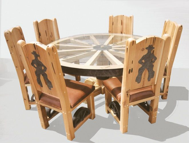 Wagon Wheel Table - Old American West Table Cir 1800's Example http://www.artfactory.com/game-room-bars-tables-stools-etc-c-11_180.html
