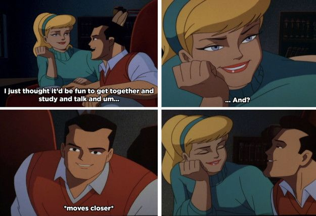 When Dick and Cindy's study session was about to get frisky. | 21 Adult References You Never Noticed In '90s Batman Cartoons