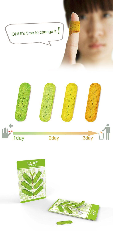 'Leaf-band-aid'은 시간에따라 색이 변함으로서 반창고를 언제 교체해야할지 알려주는 아이디어로서, 나뭇잎이 계절에 따라 변하는 원리를 적용시켰다