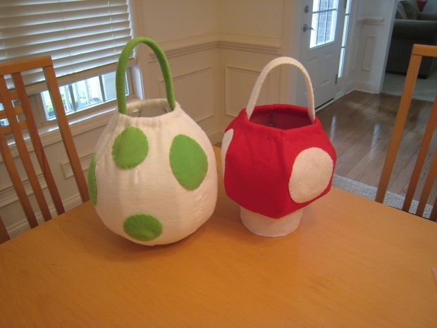 Instructables Yoshi Egg and Super Mushroom Baskets