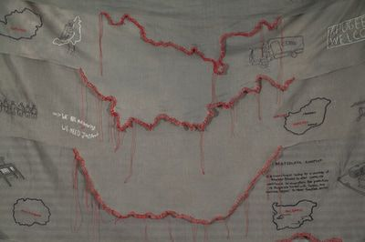 """'By Land' detail, 2017 by Kathryn Clark. Embroidery on cotton organdy and awning cloth, 60"""" x 58"""". Refugee stories is a series of embroidery panels about the journey of Syrian refugees."""
