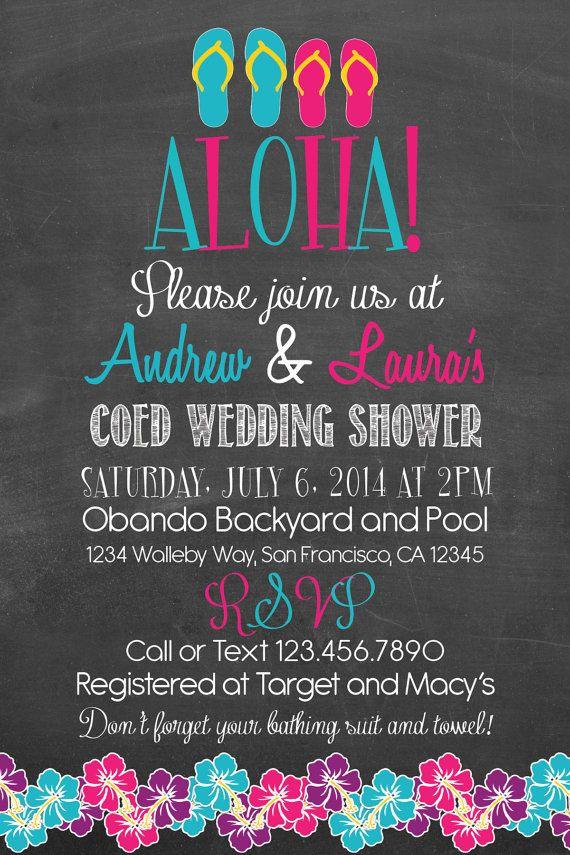 luau wedding invitation templates%0A Printable Hawaiian Luau Couples Coed Wedding Shower or Engagement Party  Chalk Style Invitation I design You print