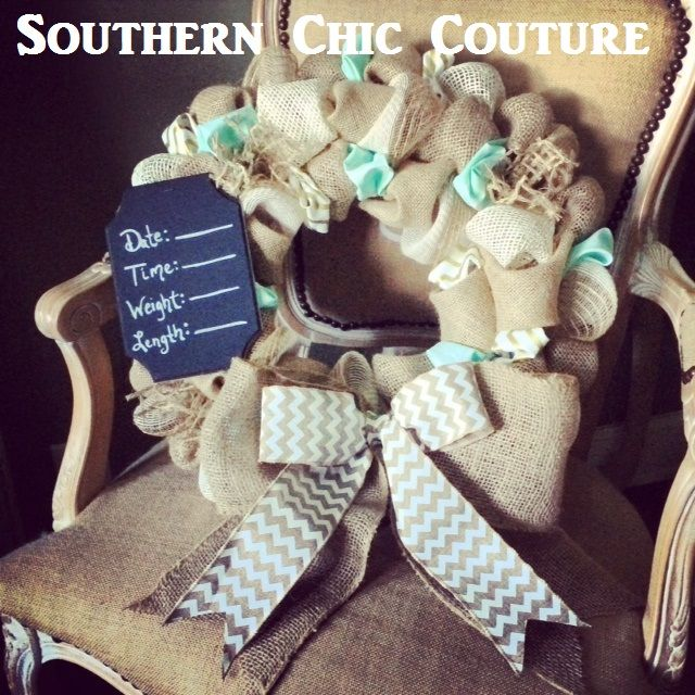 Burlap and Mint Baby Wreath- Hospital Door- Nursery Door- Or on your front door. Congrats on your new baby! CLICK FOR ETSY SITE. (45.00)