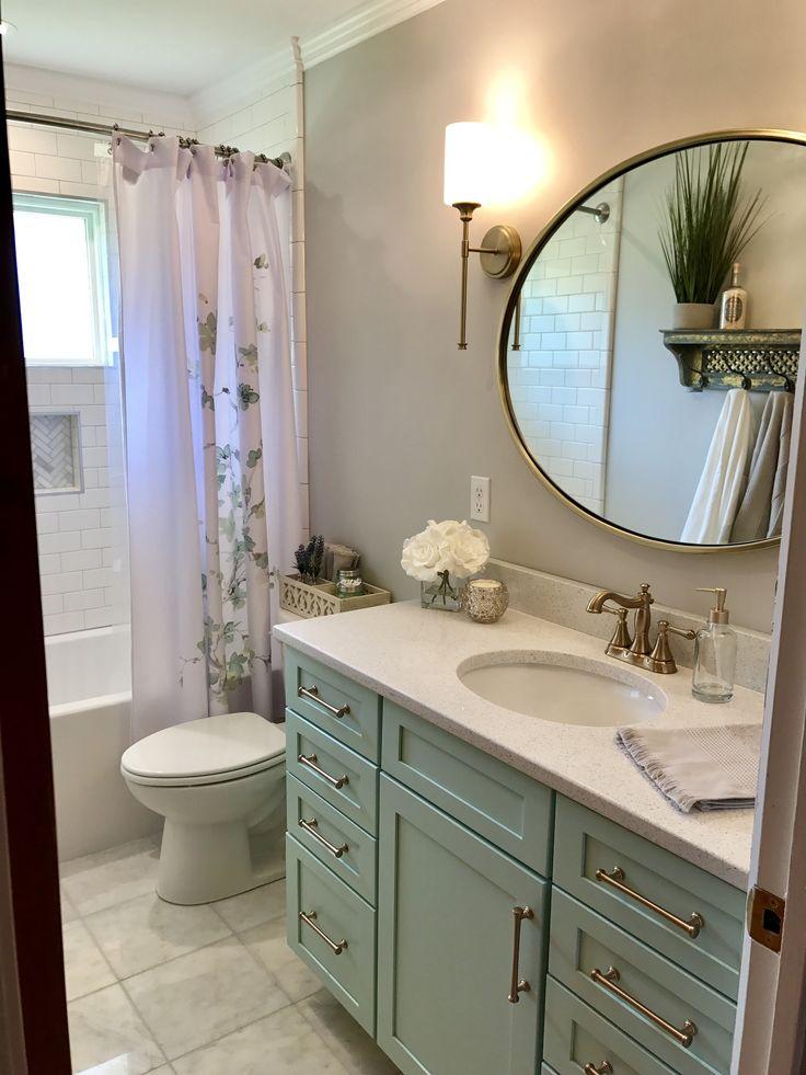 Bathroom remodel- sea foam green vanity and gold fixtures ...