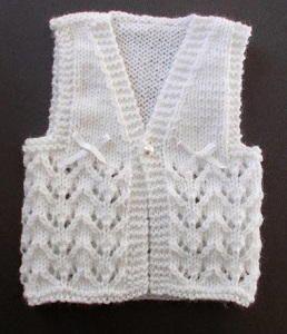 Lace Knit Baby Vest size 6(4mm) neeldes Light/DK weight yarn
