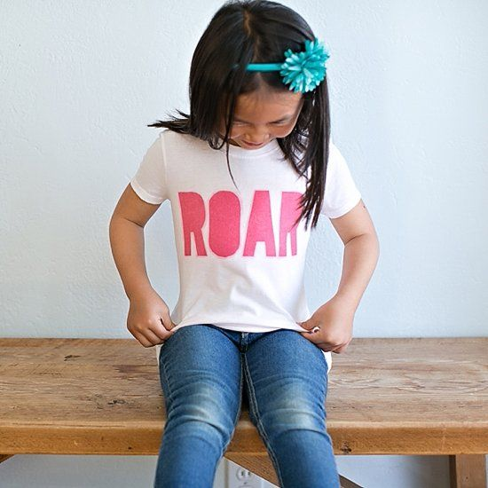 """If your kids are big fans of Katy Perry's """"Roar"""" song like ours, they'll love having their own ROAR shirt! Check out how easy it is to make."""
