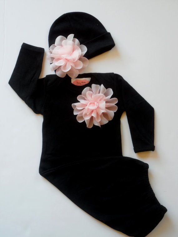 Take Home Outfit Baby Girl Clothes Layette Flower  Gown and  Flower Beanie Hat Gift Set on Etsy, $33.00