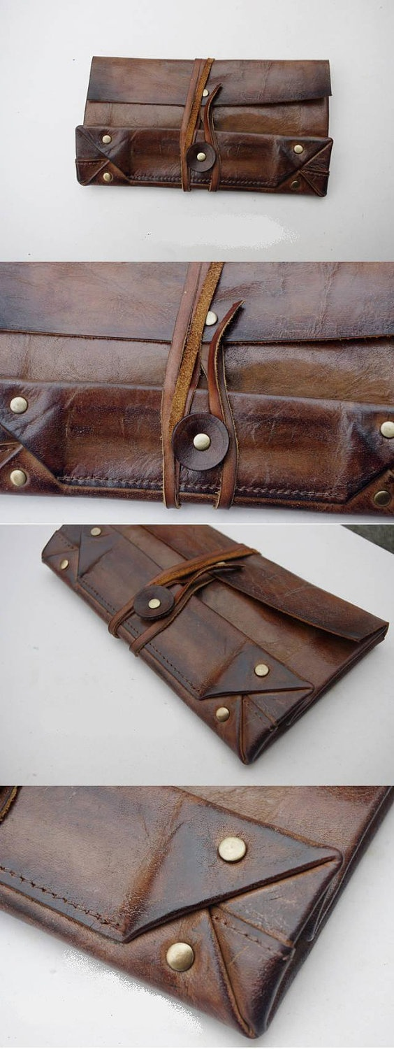Handmade real leather wallet. $188.00, via Etsy.