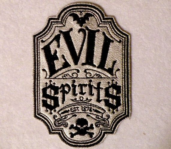 Evil Spirits Apothecary Iron On Patch On Cowhide Leather 2