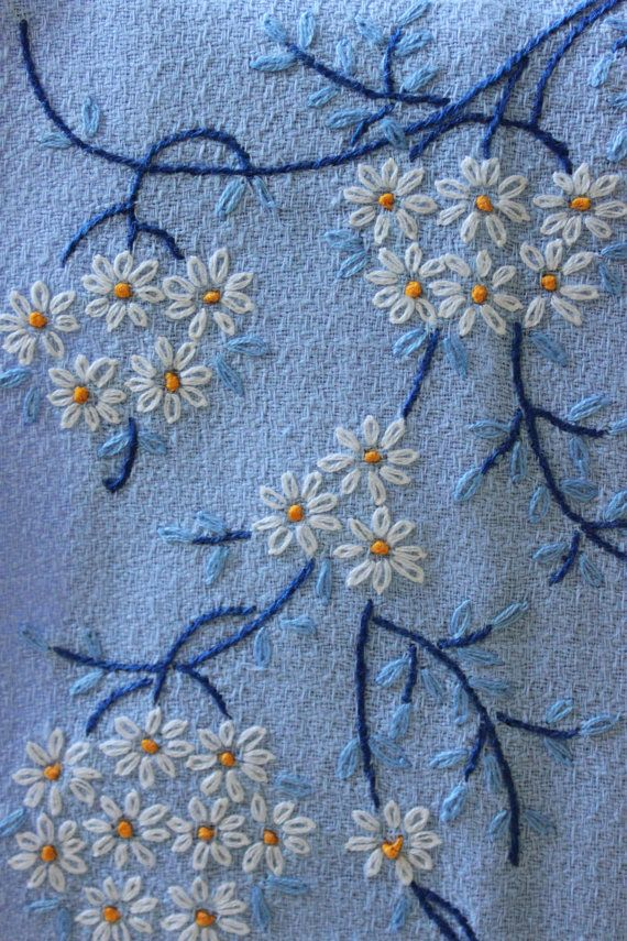 Vintage Blue Fingertip Towel with Hand Embroidered Flowers