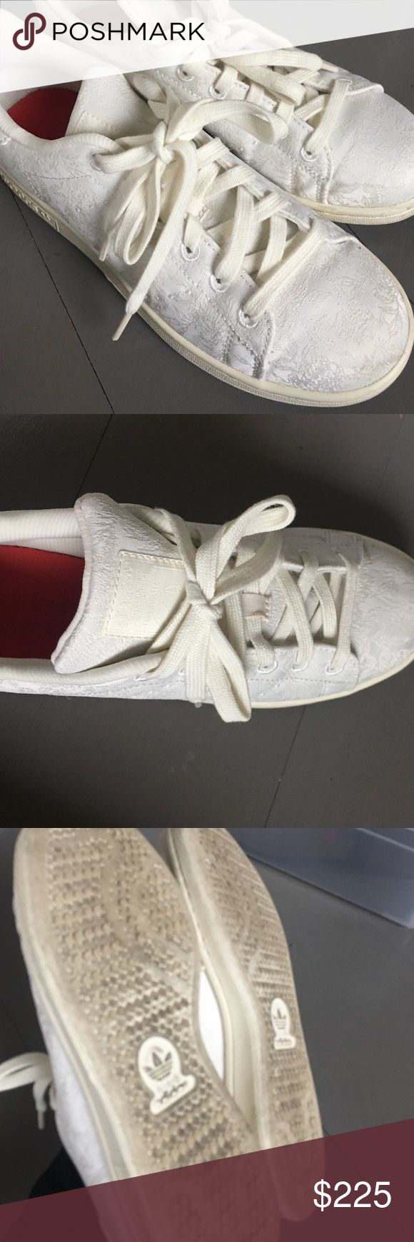 Special edition Adidas Superstar Ivory embroidered special edition from Sweden adidas superstar. Worn once so soles are dirty. Otherwise in perfect condition. Says size 5 US. UK 4.5. FR 37. Comes with red and extra ivory laces and shoe bag Adidas Shoes Sneakers