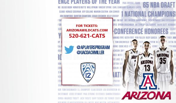 Arizona Men's Basketball Schedule Card (2013-2014)