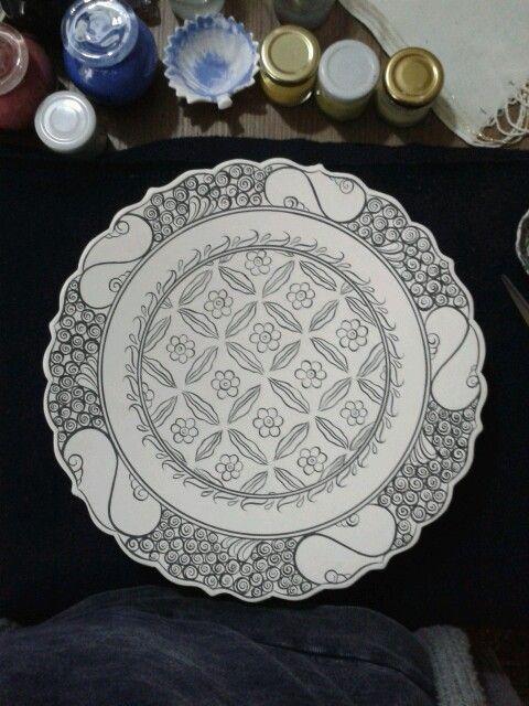 İznik dönemi çalışmalarımdan.klasik kompozisyon..Ceramic/Çini