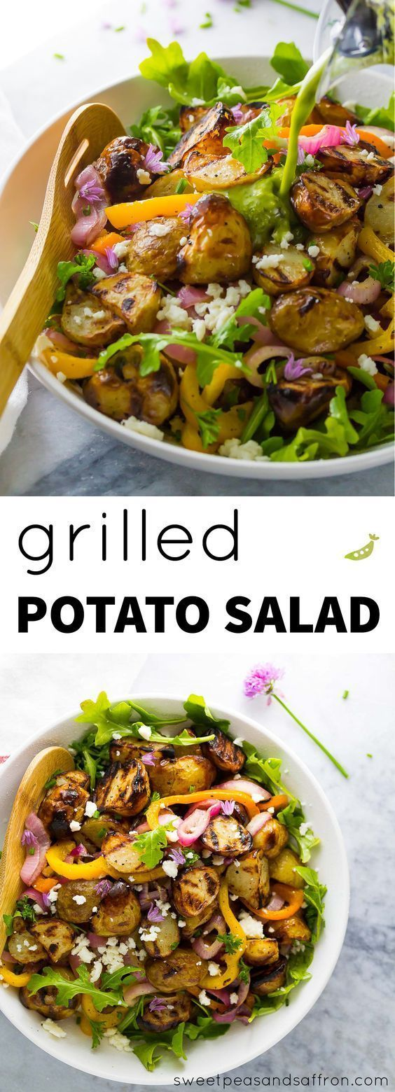 Grilled Potato Salad (no mayo!) with Grilled Onions and Peppers, Arugula and Feta.  All tossed in a lemon-parsley vinaigrette!