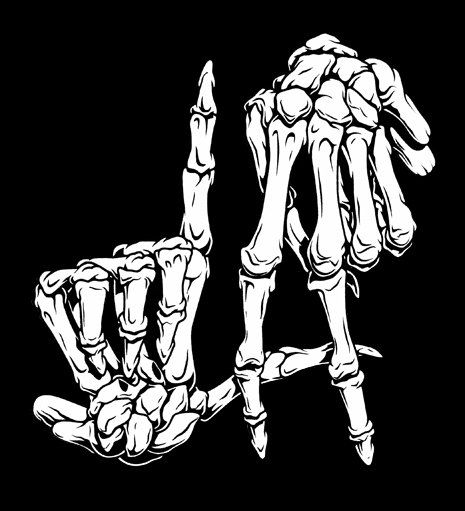 L.a. skeleton fingers on t-shirt or tank top - american apparel