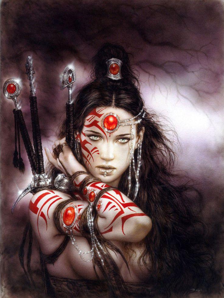 Art by Louis Royo - he has some badass tattoed women. :)                                                                                                                                                      More