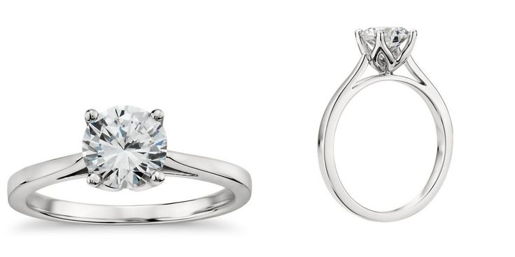 You guys felt lukewarm about the first engagement rings Monique Lhuillier designed for Blue Nile, complaining that they were a little TOO bling-tastic. Lo and behold, her latest offerings are scaled back—WAY back. Engagement Ring 1 Monique Lhuillier Solitaire Engagement Ring, $980 (setting only). Engagement Ring 2 Monique Lhuillier Cathedral Solitaire Engagement Ring, $980 (setting only). Here are three other Blue Nile solitaires, to give you an idea of how the Monique ones are different…