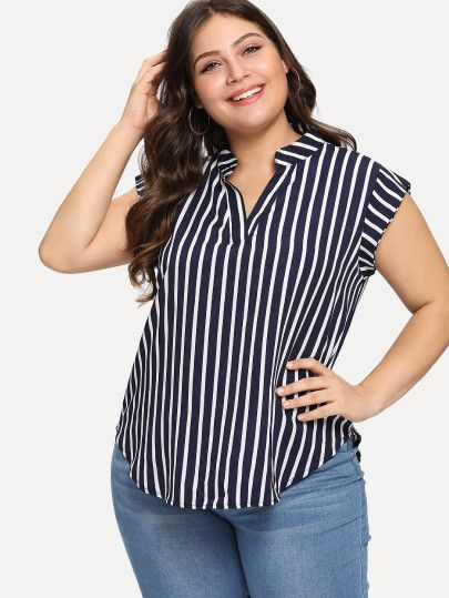 5c5bf53ae74 Shop Plus Striped V Neck Asymmetrical Blouse online. SheIn offers Plus  Striped V Neck Asymmetrical Blouse   more to fit your fashionable needs.